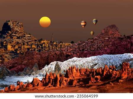 Cappadocia, view of Four different place - stock photo