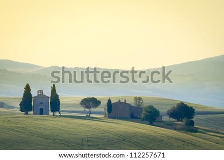 Cappella di Vitaleta, Val d'Orcia, Tuscany, Italy - stock photo