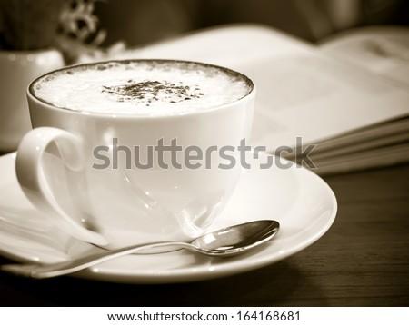 Cappuccino coffee in mono tone color - stock photo