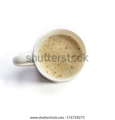 Cappuccino cup isolated on white. Top view