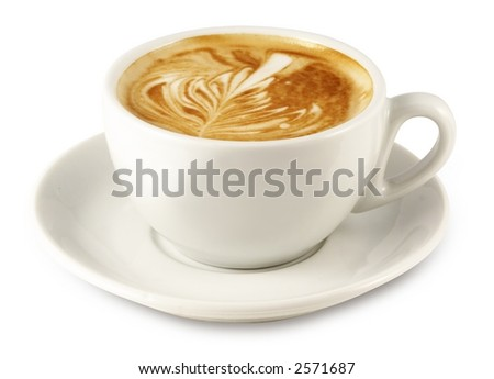 cappuccino cup (with clipping path for easy background removing if needed) - stock photo