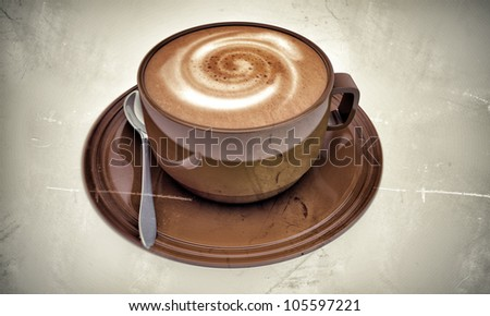 cappuccino in old photo isolated on white background - stock photo