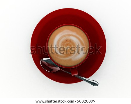 cappuccino in red cup isolated on white background - stock photo