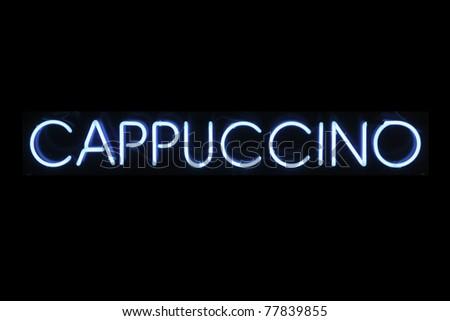 Cappuccino neon signage - stock photo