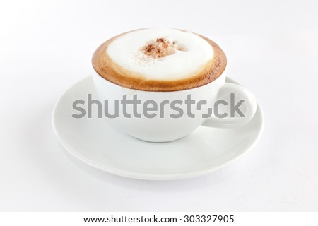 Cappuccino on white background - stock photo