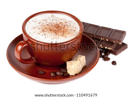 Cappuccino with chocolate and spices - stock photo
