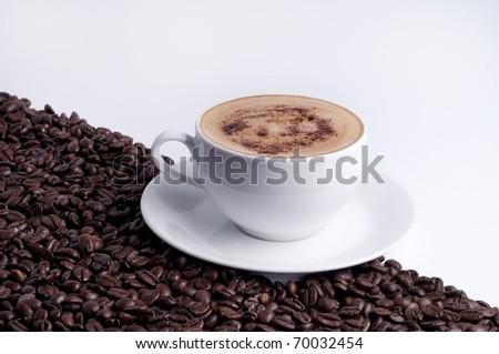 cappuccino with grain - stock photo