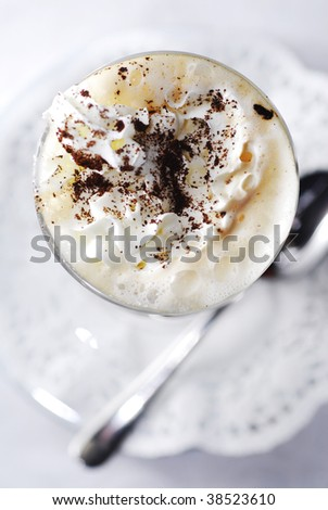 cappuccino with whipped cream - stock photo