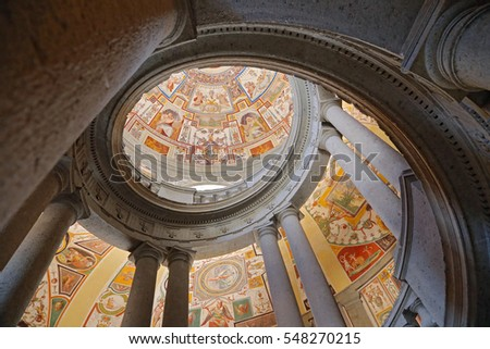 "CAPRAROLA, ITALY - OCTOBER 16, 2016: La Scala Regia of the Palazzo Farnese, a masterpiece by Vignola, is a scale to ""snail"" that winds helically shaped"