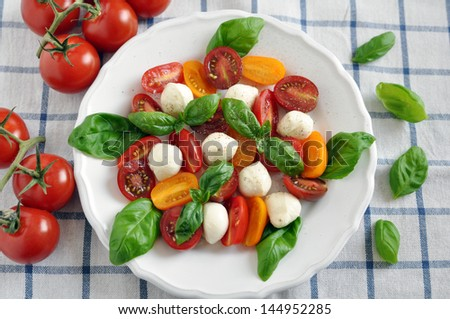 Caprese, Italian Salad with Tomatoes, Basil and Mozzarella