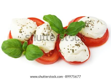 Caprese - Italian salad with tomatos and mozarella cheese - stock photo