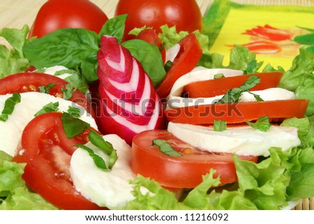 Caprese - Italian salad with tomatos, radish and mozarella cheese