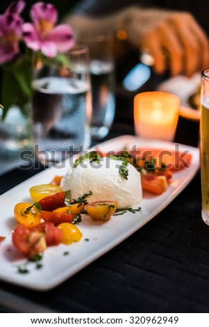 Caprese salad outdoors