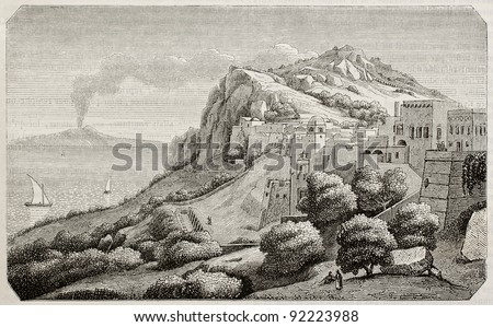 Capri island old view, Naples gulf, Italy. Created by Aligny, published on Magasin Pittoresque, Paris, 1845 - stock photo