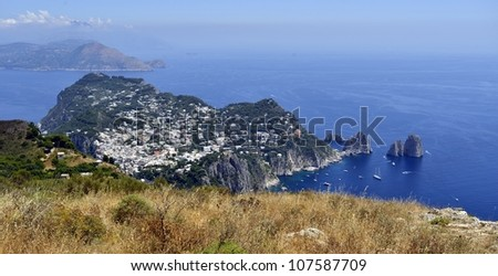 Capri Island - view from above - stock photo