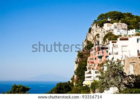 Capri isle (Naples gulf - Italy): view of the vesuvius volcano - stock photo