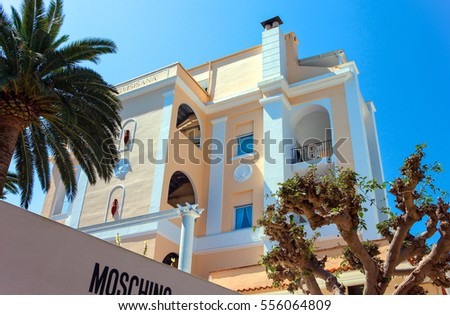 Capri, Italy - April 22, 2007: Upward view of a luxury hotel  in the Marina Grande old village