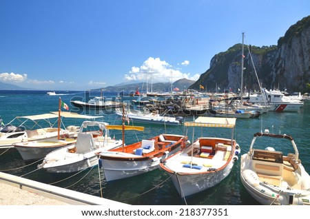 CAPRI, ITALY - AUGUST 18, 2014: Picturesque Marina Grande on Capri island, Italy. Capri is located on Tyrrhenian sea. It has been a resort since the time of Roman Republic.