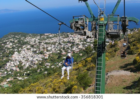 CAPRI, ITALY,JUNE 27, 2015: View from the chair lift up to Mount Solaro overlooking Anacapri on Capri Island, Italy - stock photo