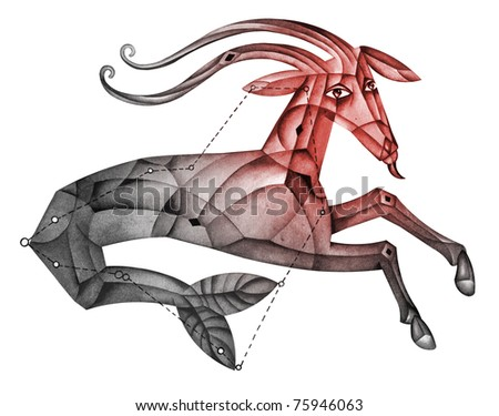 Capricorn. Cubist Zodiac Star Sign isolated on a white background - stock photo
