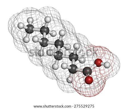 Caprylic (octanoic) acid. Medium-chain fatty acid, used as antimicrobial agent, food supplement and chemical intermediate. Atoms are represented as spheres with conventional color coding.  - stock photo