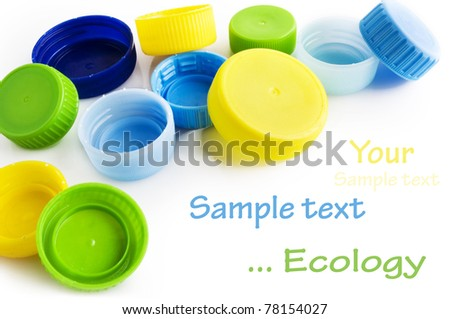 Caps of the bottle isolated on white background with sample text - stock photo