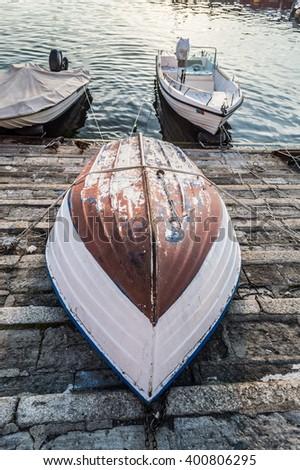 Capsize Boat Lake - stock photo