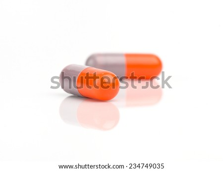 capsule pills isolated on white background - stock photo