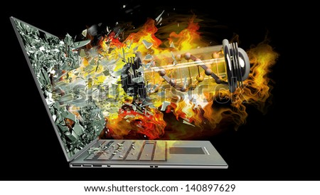 capsule with Virus on fire exit by a monitor of laptop screen isolated on black background High resolution 3d