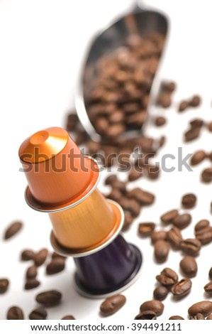 Capsules for coffee machine isolated on white background