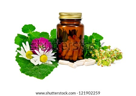 Capsules in a brown sealed jars and sprigs of mint, flowers of chamomile, clover, mignonette, sage leaf isolated on white background - stock photo