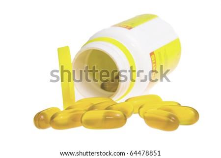 Capsules on white background - stock photo