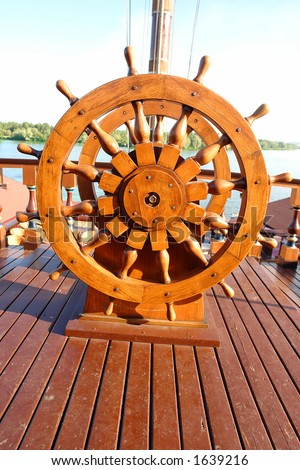 Captain's Steering Wheel - stock photo