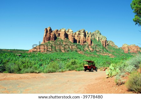 capture of a breathtaking natural nature landscape,with jeep - stock photo