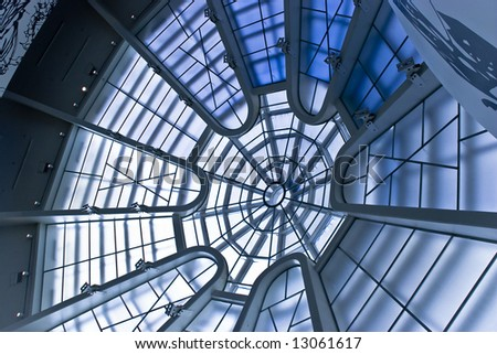 Capture of a the ceiling of the Guggenheim Museum in NYC - stock photo