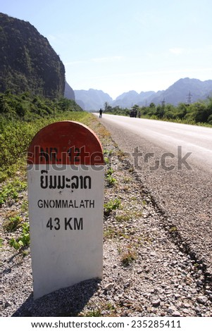 Capture of 43 kilometers to Gnommalath Milestone on the National Route 12 Khammuane, Laos. - stock photo