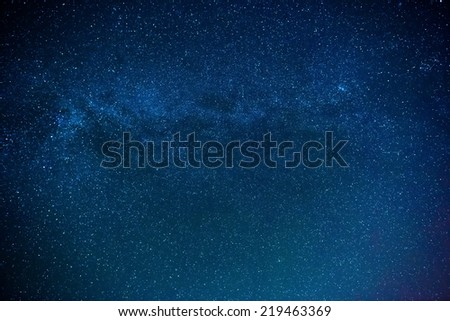 Capture of the Milky Way galaxy with a wide angle lens. - stock photo