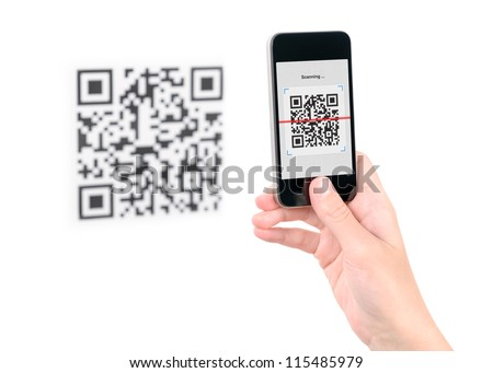 Capture QR code on mobile smart phone. Isolated on white. - stock photo