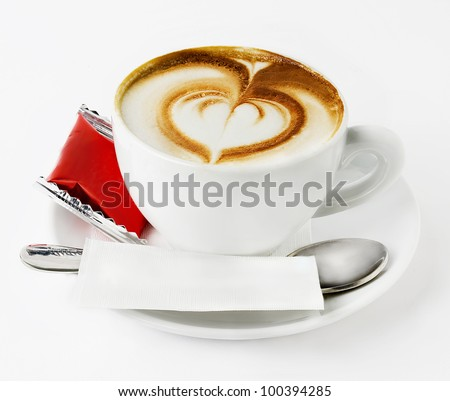 capuccino coffee with  heartrt formed isolated in white background - stock photo