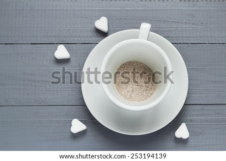 Capuccino cup of coffee prepared with boiling water to flood - stock photo