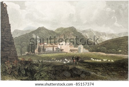 Capuchin Convent old view, Sicily, Created by De Wint and Goodall, printed by McQueen, publ. in London, 1821. Ed. on Sicilian Scenery, Rodwell and Martins, London, 1823 - stock photo