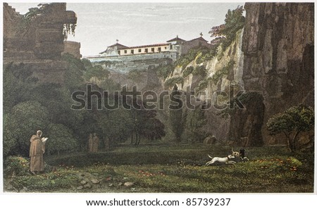 Capuchins convent near Syracuse, over Latonie (antique stone quarries), Sicily. By De Wint and Hearth, printed by McQueen, London, 1821. Ed. on Sicilian Scenery, Rodwell and Martins, London, 1823 - stock photo