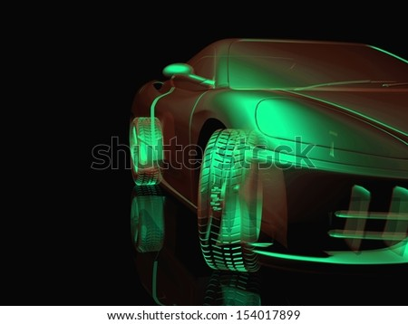 car  a dark background. with shiny paint and lights on. design concept. 3d rendering modern car, front view - stock photo