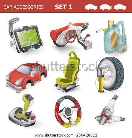 Car accessories illustration - stock photo