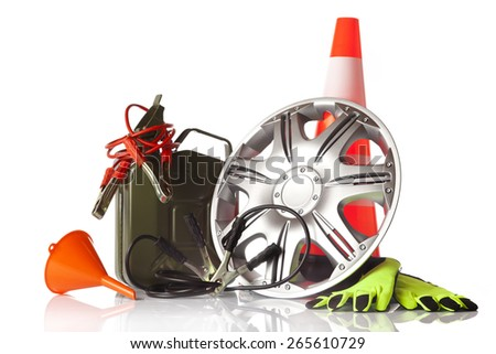 car accessories isolated on white background - stock photo
