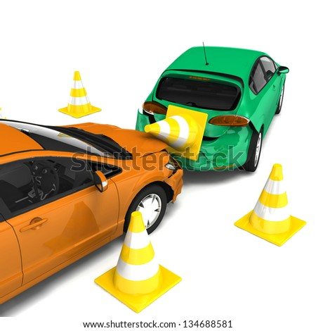 car accident isolated on white car accident and downed traffic