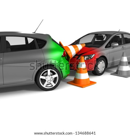 Car accident and downed traffic cones. Isolated On White Background - stock photo