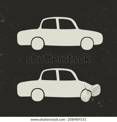 Car accident . Cars before and after the accident. Raster version - stock photo