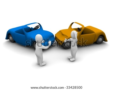 Car accident. 3d rendered illustration isolated on white. - stock photo
