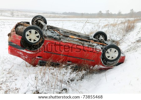 Car accident in winter conditions - stock photo